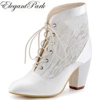 Women Comfort Boots Chunky Mid Heels Lace up booties Bride Satin Woman Wedding Shoes Bridal Dress Pumps HC1559 Wedding Boot
