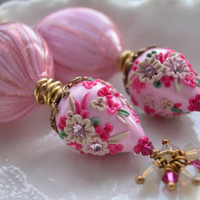 Venetian Murano Blown Glass Elaborate Pink Earrings by leeski