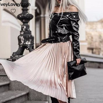Satin Pleated Long Skirt