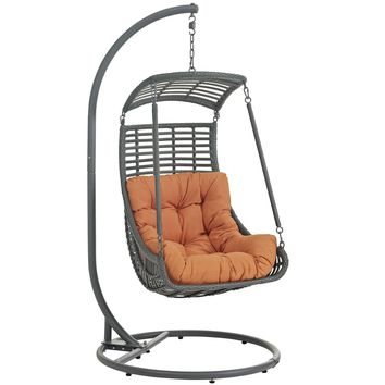 Jungle Outdoor Patio Swing Chair With Stand Orange EEI-2274-ORA-SET