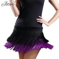 Good Quality  2018 Women's Latin Dance Skirt Double Layer Tassel Short Skirt Samba Sexy Lady Dance short Skirt Female Clothes