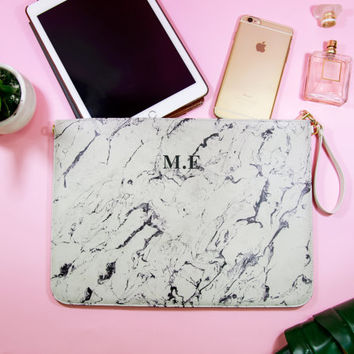 Marble clutch personalized clutch purse Customizable name faux leather clutch vegan leather purse everning party pouch party hand bag