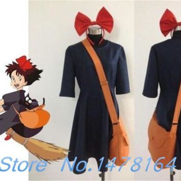 Cool New Kiki Delivery Service Cosplay Garment Costume+Bag+Hairband Customize Any Size Free shippingAT_93_12