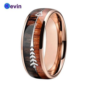 Tungsten Wedding Band Rings Men Women Rose Gold Ring With Double Wood And Steel Arrow Inlay New Arrival 2018