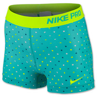 Women's Nike 3 Inch Pro Core Polka Square Print Compression Shorts