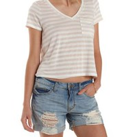 Taupe Combo Striped Swing Pocket Tee by Charlotte Russe