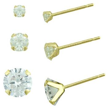 Women's Cubic Zirconia Stud Earring Set with Gold Filled Clutches in 10K Gold (2.5mm/3mm/4mm)