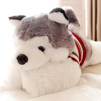 1pcs size 40 cm Cartoon gray sweater husky dog plush toy child cloth doll Large pillow cushion child Christmas birthday gift