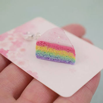 Cute Rainbow Cake Charm | Polymer Clay | Miniature Sweet Food | Kawaii Handmade Gift | Charm Necklace Jewelry