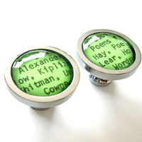 Mint Green Minty Grass Green LIMITED EDITION COLOR Cabinet Knobs Vintage Library Card Catalog Drawer Pulls - Set of 2 (Two)