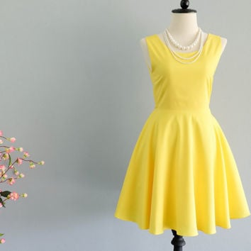 Lemon yellow dress yellow party dress backless dress yellow prom dress lemon yellow cocktail dress weddingyellow bridesmaid dresses