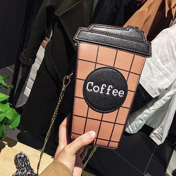 Personality coffee cup shoulder bag letter design hit color plaid mini chain clutch purse ladies messenger bag pu