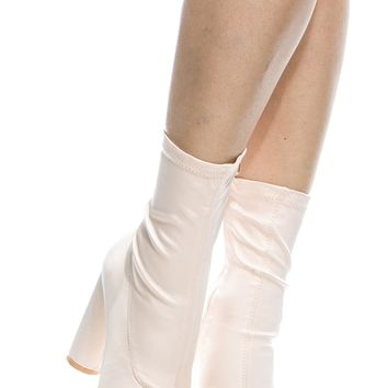 Nude Satin Chunky Pointed Toe Ankle Booties @ Cicihot. Booties spell style, so if you want to show what you're made of, pick up a pair. Have fun experimenting with all we have to offer!
