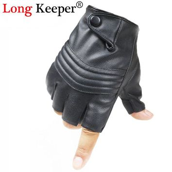 Long Keeper New Style Mens Leather Driving Gloves Fitness Gloves Half Finger Tactical Gloves Black Guantes Luva G223