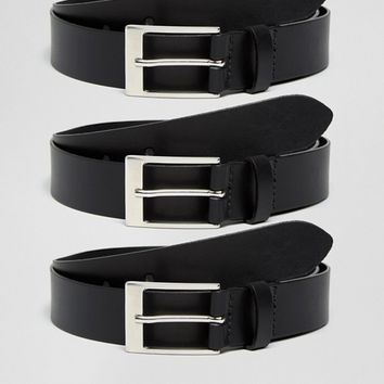ASOS Smart Leather Belt 3 Pack SAVE at asos.com