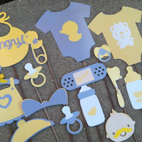 PHOTO BOOTH PROPS yellow and grey baby shower set