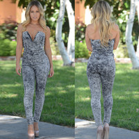 Stylish Sleeveless Edgy Strapless Denim Jumpsuit