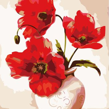 DIY oil painting red vase gorgeous living room decorative wall art decor gift Home Furnishing flower still lifes