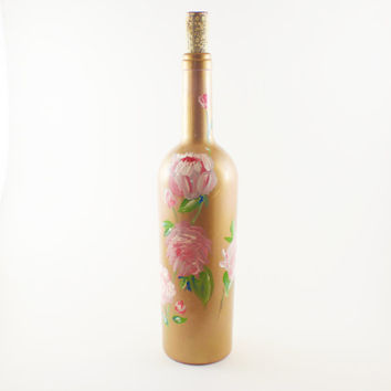 Hand Painted Up-Cycled Floral Wine Bottles: Peonies
