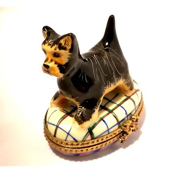 Terrier Dog Numbered 1 of 750 First One Painted - Retired Rare Limoges Box