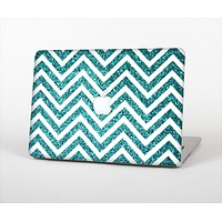 "The Teal & White  Sharp Glitter Print Chevron Skin Set for the Apple MacBook Pro 13"" with Retina Display"