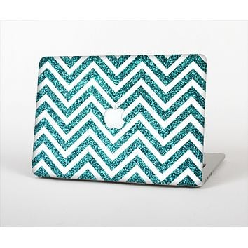 "The Teal & White  Sharp Glitter Print Chevron Skin Set for the Apple MacBook Pro 15"" with Retina Display"