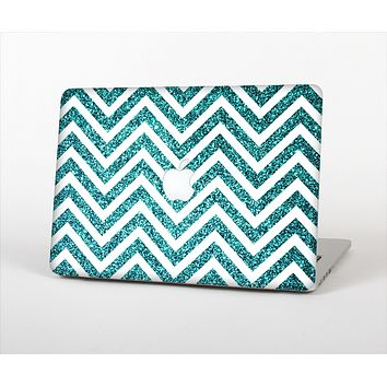 The Teal & White  Sharp Glitter Print Chevron Skin Set for the Apple MacBook Air 11""