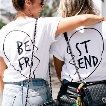 Best friend bff matching heart tshirt