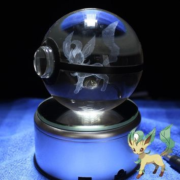 Leafeon Design Figurines Crystal Poke Ball 3D  Miniatures With LED Base Room DecorationsKawaii Pokemon go  AT_89_9