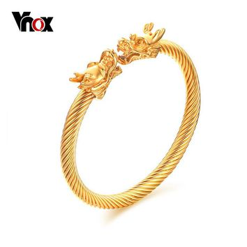 Vnox Men's Dragon Cuff Bracelet Size  Adjustable Stainless Steel Twisted Cable Bracelets & Bangles