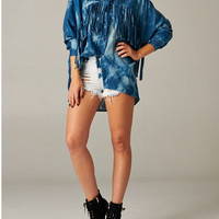 Denim Fringe Top