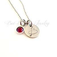 Hand stamped personalized birthstone initial necklace - Initial Jewelry - Initial Necklace