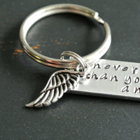 Never Drive Faster Than Your Guardian Angel Can Fly Metal Stamp Keychain