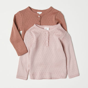2-pack Pointelle Tops - Dark beige/powder pink - Kids | H&M US