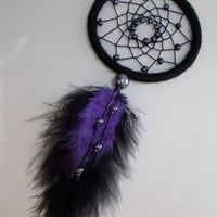 3'' Black Dreamcatcher With Hematite and Black-Purple Feathers - Dark Gothic Wall hanging Home Decor - Car Accessory - Goth Dream Catcher