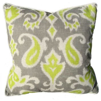 Pre-owned Yellow & Grey Ikat Linen Pillow