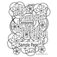 Swear Word Coloring Page-It's not Fucking Rocket Science!-Instant Digital Download-Swear Word Coloring Page