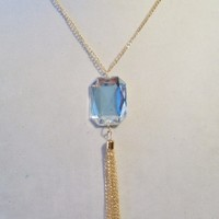 eBlueJay: Huge Faceted Clear Gem Tassel Blouse Necklace Gold Tone Costume Jewelry Fashion Accessories For Her