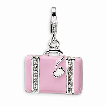 Sterling Silver Swarovski Element Laptop Bag W/lobster Clasp Charm, Best Quality Free Gift Box Satisfaction Guaranteed