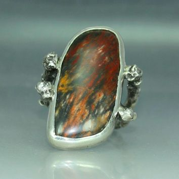 A Petrified Wood  Organic Oak Twig Silver  Jewelry Handmade  Metalwork Ring Solitare Ring Mans  Ring