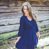 Crochet Paisley Dress in Navy