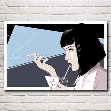 Pulp Fiction Mia Wallace Uma Thurman Movies Art Silk Poster Print Home Decor Pictures 12x18 16X24 20x30 24x36 Inch Free Shipping