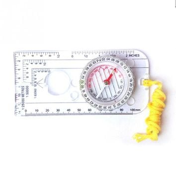 Mini Baseplate Compass Map Scale Ruler Outdoor Camping Hiking Cycling Scouts Military Compass Outdoor Activities Accessories