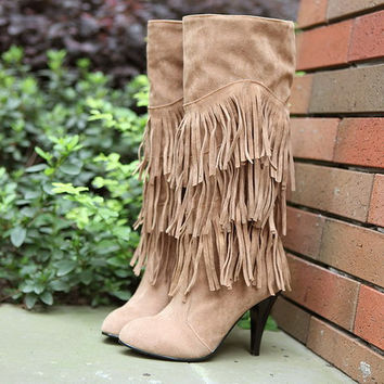 Women 2016 new Autumn and winter shoes nubuck leather stiletto boots fringed motorcycle boots Tall canister boots knight