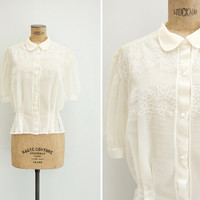 1950s Blouse - Vintage 50s Ivory Nylong Embroidered Blouse - Under The Vines Blouse