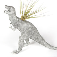 Silver T-Rex Dinosaur planter with air plant GIFT IDEAS for dorm, office, or desk decor