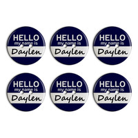 Daylen Hello My Name Is Plastic Resin Button Set of 6