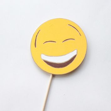 Happy Face with Squinting Eyes Emoji Wooden Photo Booth Prop