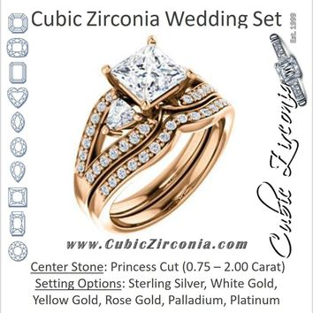 CZ Wedding Set, featuring The Karen engagement ring (Customizable Enhanced 3-stone Design with Princess Cut Center, Dual Trillion Accents and Wide Pavé-Split Band)