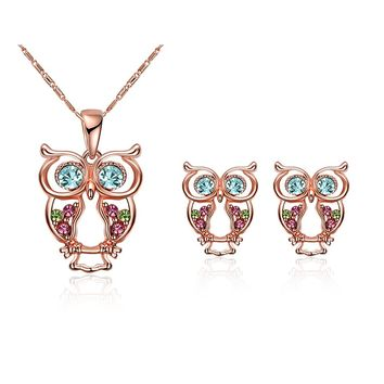 Womens Vintage Owl Jewelry Sets Silver Retro Gemstone Owl Pendant Necklace Drop Earrings Set